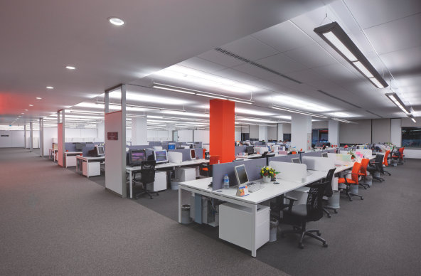 Open plan office office buildings osram for Office design usa